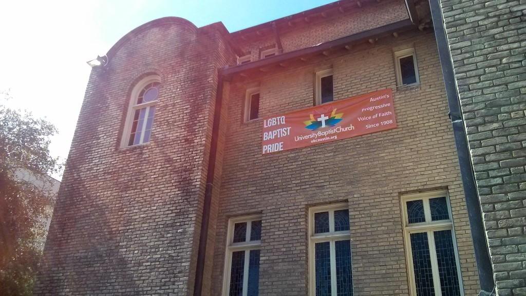 PRIDE Banner on Sanctuary